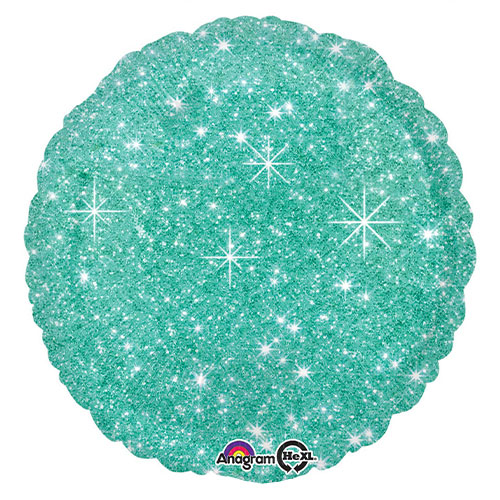 Faux Sparkle Green Round Foil Helium Balloon 43cm / 17 in
