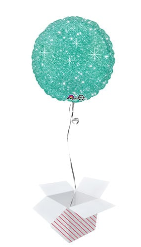 Faux Sparkle Green Round Foil Helium Balloon - Inflated Balloon in a Box
