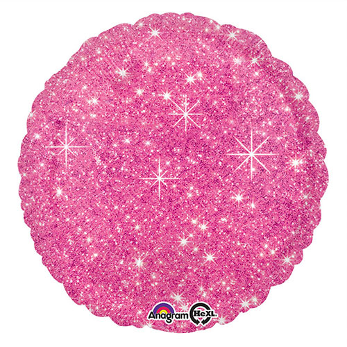Faux Sparkle Hot Pink Round Foil Helium Balloon 43cm / 17 in