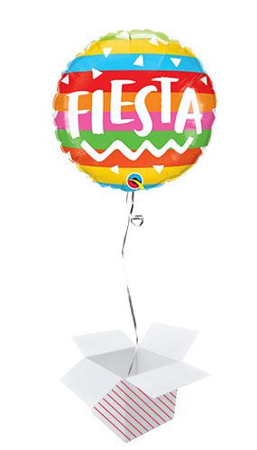 Fiesta Rainbow Stripes Round Foil Helium Qualatex Balloon - Inflated Balloon in a Box