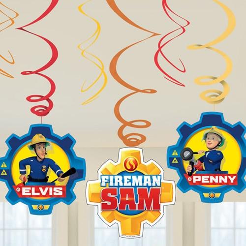 Fireman Sam Hanging Swirl Decorations - Pack of 6