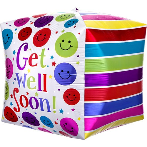 Get Well Soon Cubez Foil Helium Balloon 38cm / 15 in Product Gallery Image