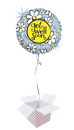 Get Well Soon Daisy Holographic Round Foil Helium Balloon - Inflated Balloon in a Box