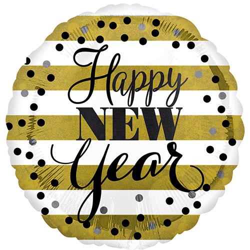 Golden Happy New Year Round Foil Helium Balloon 43cm / 17 in