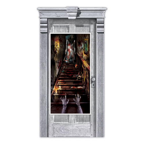 Halloween Haunted House Stairway Door Cover Decoration 165cm