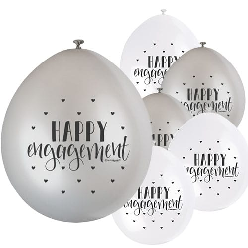 Happy Engagement Air Fill Biodegradable Latex Balloons 23cm / 9 in - Pack of 10