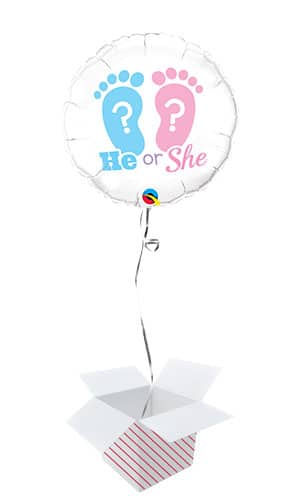 He Or She Footprints Gender Reveal Round Foil Helium Qualatex Balloon - Inflated Balloon in a Box