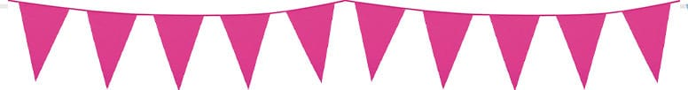 Hot Pink Plastic Pennant Bunting 10m