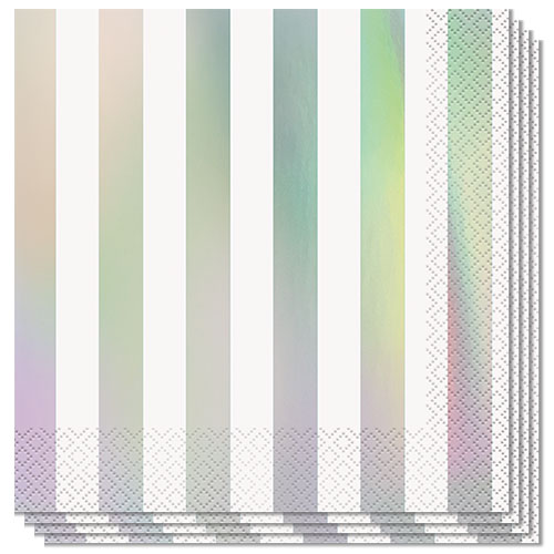 Iridescent Stripes Foil Stamped Luncheon Napkins 33cm 2Ply - Pack of 16