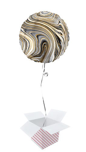 Marblez Black Round Foil Helium Balloon - Inflated Balloon in a Box