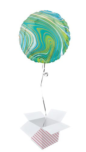 Marblez Blue Green Round Foil Helium Balloon - Inflated Balloon in a Box