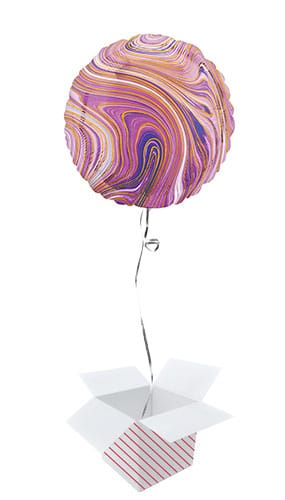 Marblez Purple Round Foil Helium Balloon - Inflated Balloon in a Box