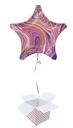 Marblez Purple Star Shape Foil Helium Balloon - Inflated Balloon in a Box