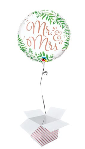 Mr & Mrs Elegant Greenery Round Foil Helium Qualatex Balloon - Inflated Balloon in a Box