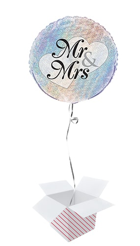 Mr And Mrs Holographic Wedding Round Foil Helium Balloon - Inflated Balloon in a Box