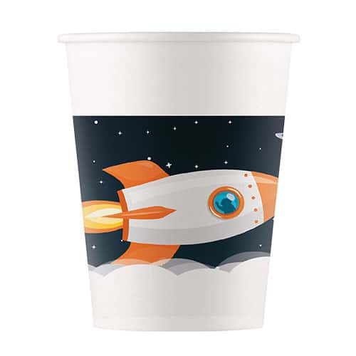 Outer Space Theme Paper Cups 200ml - Pack of 8