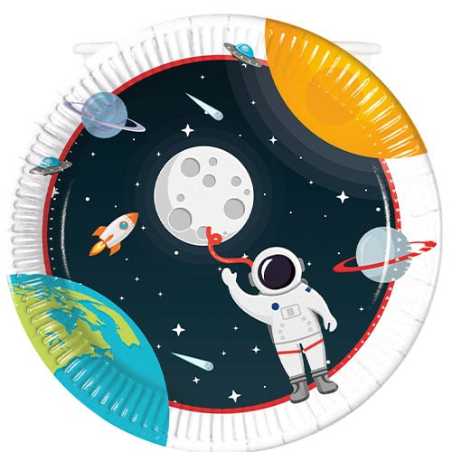 Outer Space Theme Round Paper Plates 23cm - Pack of 8