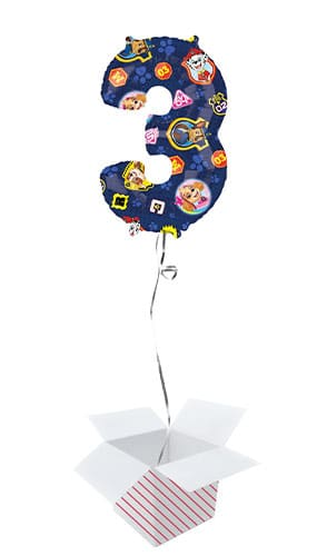 Paw Patrol Number 3 Helium Foil Giant Balloon - Inflated Balloon in a Box
