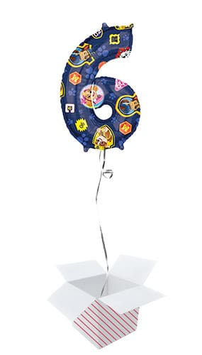 Paw Patrol Number 6 Helium Foil Giant Balloon - Inflated Balloon in a Box