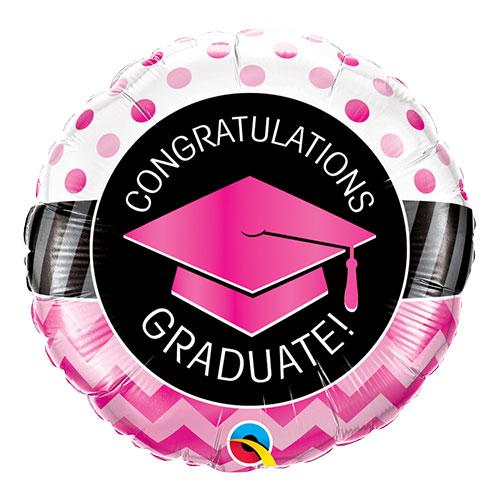 Pink Congratulations Graduate Round Foil Helium Qualatex Balloon 46cm / 18 in