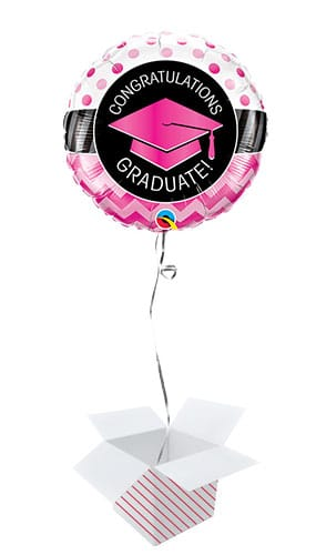 Pink Congratulations Graduate Round Foil Helium Qualatex Balloon - Inflated Balloon in a Box