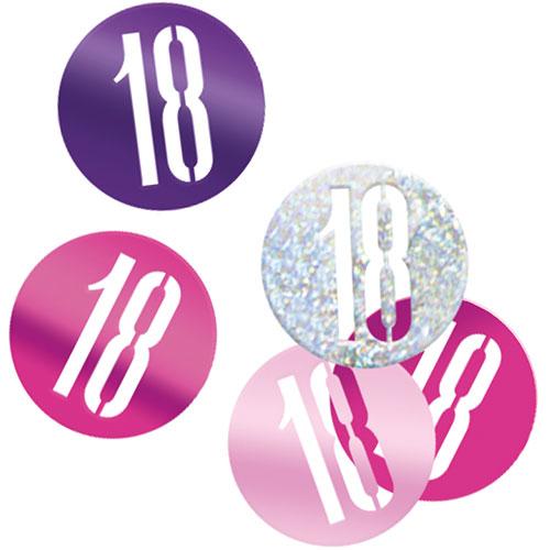 Pink Glitz Age 18 Holographic Assorted Table Confetti 14 Grams