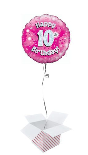 Pink Happy 10th Birthday Holographic Round Foil Helium Balloon - Inflated Balloon in a Box