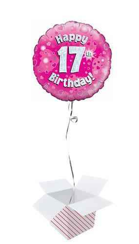Pink Happy 17th Birthday Holographic Round Foil Helium Balloon - Inflated Balloon in a Box