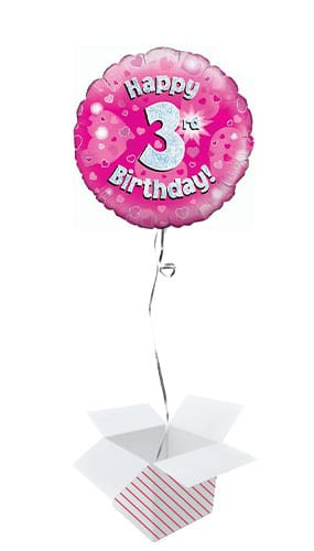 Pink Happy 3rd Birthday Holographic Round Foil Helium Balloon - Inflated Balloon in a Box