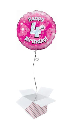 Pink Happy 4th Birthday Holographic Round Foil Helium Balloon - Inflated Balloon in a Box