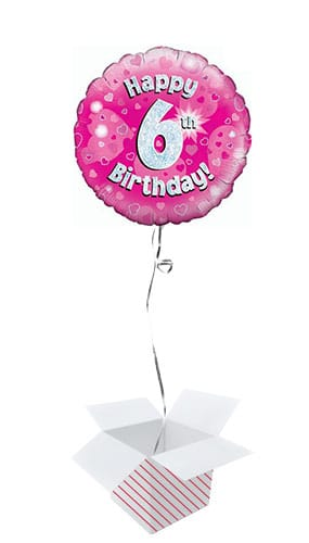 Pink Happy 6th Birthday Holographic Round Foil Helium Balloon - Inflated Balloon in a Box