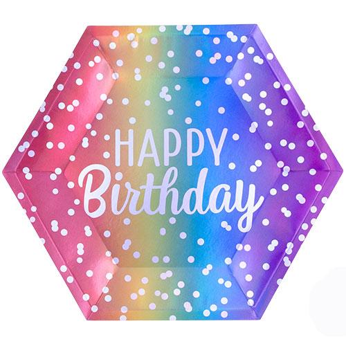 Rainbow Ombre Birthday Metallic Paper Plates 23cm - Pack of 8