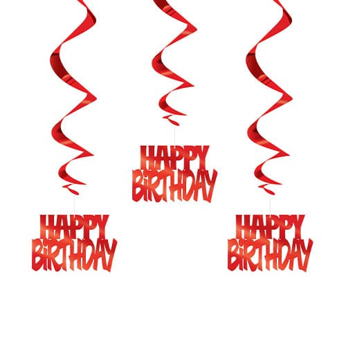 Red Happy Birthday Script Hanging Swirl Decorations - Pack of 3