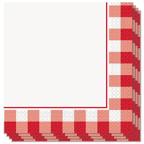 Red Gingham Luncheon Napkins 33cm 2Ply - Pack of 16