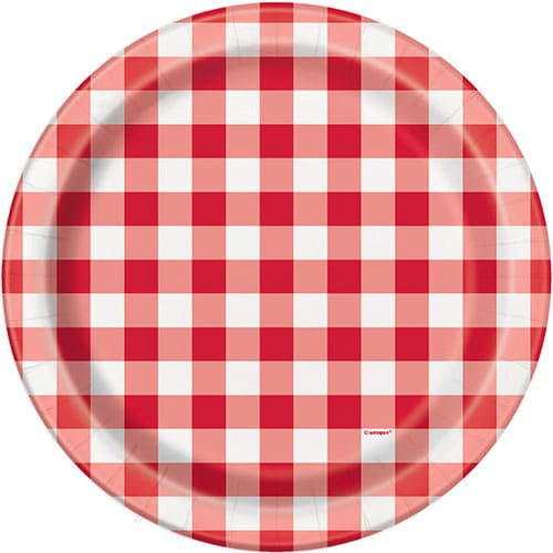 Red Gingham Round Paper Plates 22cm - Pack of 8