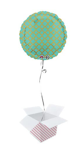 Robin's Egg & Gold Quatrefoil Round Foil Helium Balloon - Inflated Balloon in a Box