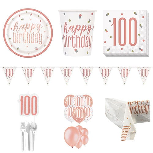 Rose Gold Glitz 100th Birthday 16 Person Deluxe Party Pack