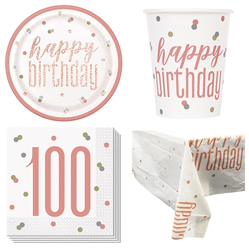 Rose Gold Glitz 100th Birthday 8 Person Value Party Pack