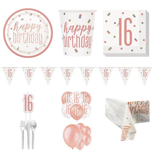 Rose Gold Glitz 16th Birthday 16 Person Deluxe Party Pack