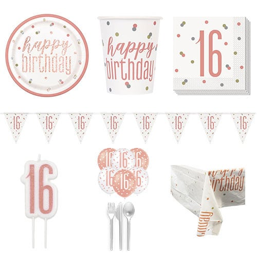 Rose Gold Glitz 16th Birthday 8 Person Deluxe Party Pack