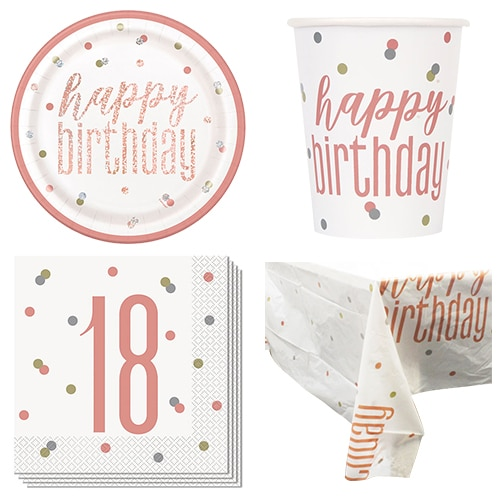 Rose Gold Glitz 18th Birthday 8 Person Value Party Pack