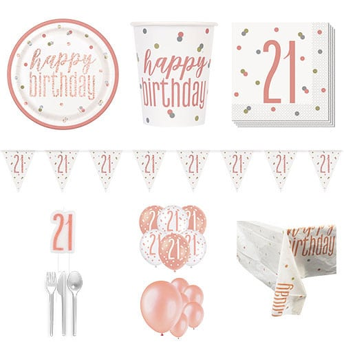 Rose Gold Glitz 21st Birthday 16 Person Deluxe Party Pack