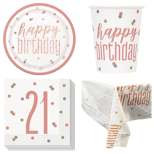 Rose Gold Glitz 21st Birthday 8 Person Value Party Pack