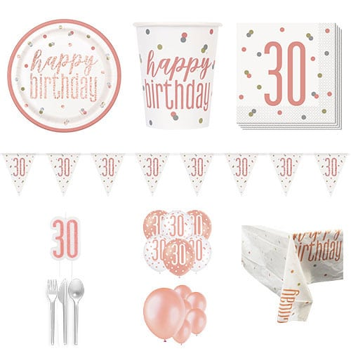 Rose Gold Glitz 30th Birthday 16 Person Deluxe Party Pack