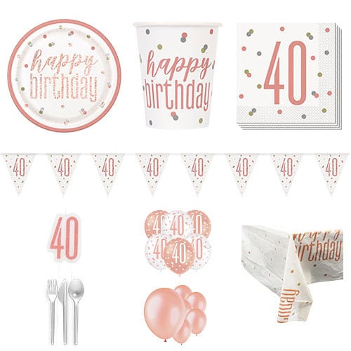 Rose Gold Glitz 40th Birthday 16 Person Deluxe Party Pack
