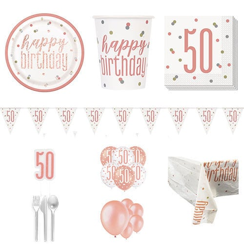 Rose Gold Glitz 50th Birthday 16 Person Deluxe Party Pack