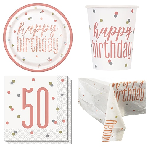Rose Gold Glitz 50th Birthday 8 Person Value Party Pack