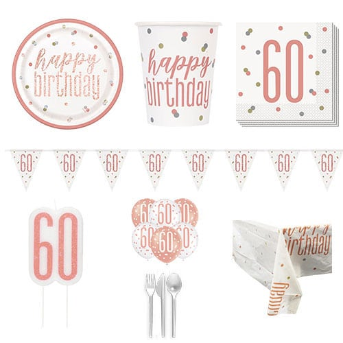 Rose Gold Glitz 60th Birthday 8 Person Deluxe Party Pack