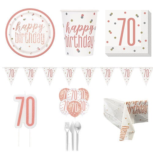 Rose Gold Glitz 70th Birthday 8 Person Deluxe Party Pack