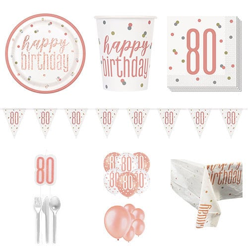 Rose Gold Glitz 80th Birthday 16 Person Deluxe Party Pack